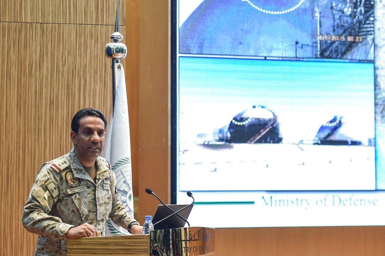 Den saudiske oberst Turki bin Saleh al-Malki fremlægger beviser på, at Iran stod bag droneangrebet på to oliefelter i Abqaiq and Khurais.
