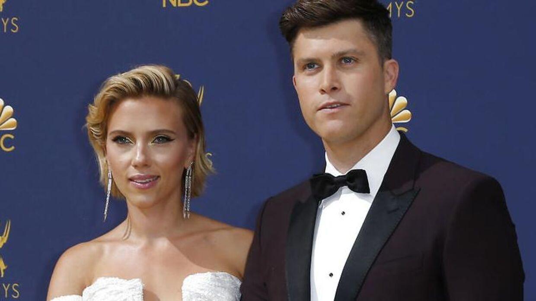 Scarlett Johansson og hendes nuværende forlovede, Colin Jost.