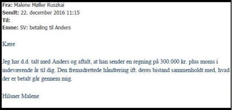 Mailkorrespondance viser, hvordan Malene Møller Ruszkai overtager håndteringen af en regning på 300.000 kroner på opfordring fra Anders Valentiner-Branth. En intern undersøgelse har siden vist, at regningen gav advokaten et forskud på mere end 100.000 kroner.