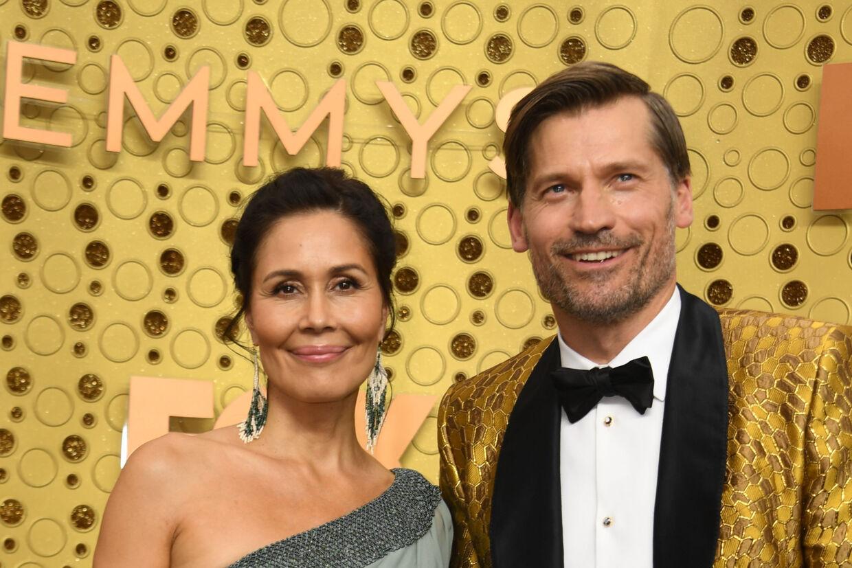 Den danske skuespiller Nikolaj Coster-Waldau var med til Emmy-uddelingen sammen med sin hustru, Nukaaka Coster-Waldau. Valerie Macon/Ritzau Scanpix