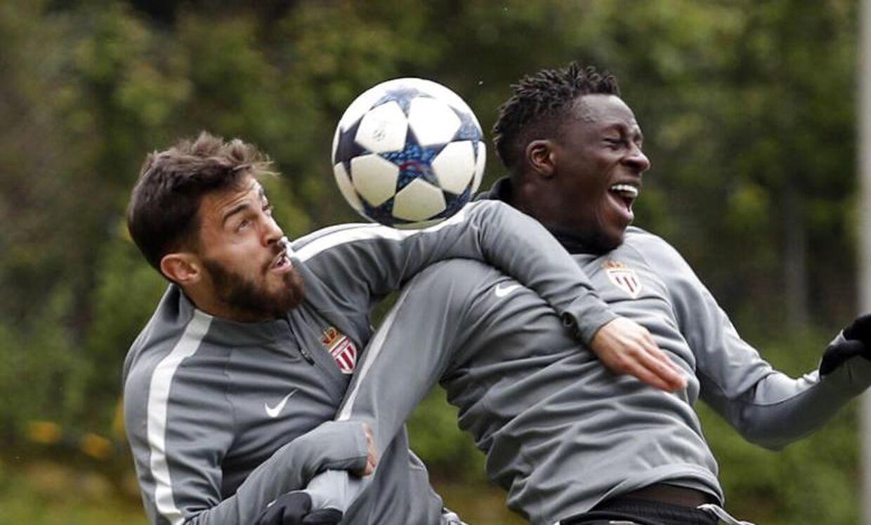 Bernardo Silva og Benjamin Mendy under træning i Monaco.