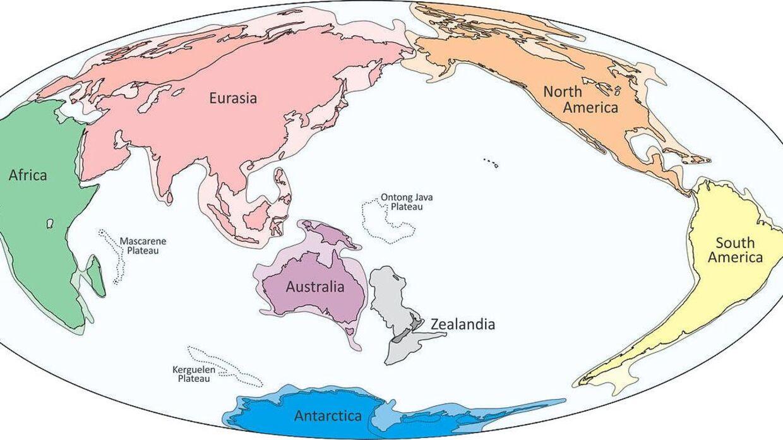 I 2017 fandt forskere et andet kontinent kaldet Zealandia. Det er markeret med gråt under New Zealand.
