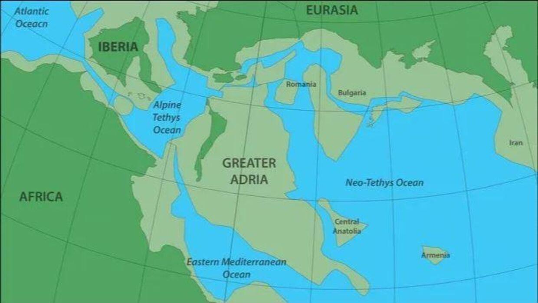 Forskernes bud på hvor 'Greater Adria' lå, inden det bevægede sig ind under Sydeuropa for 140 millioner år siden.