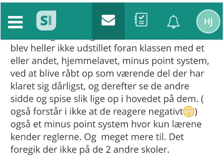 Besked på SkoleIntra fra Sandie Johnson sendt til skoleleder Morten Wettergren og børnenes lærere om pointsystemet med slik som belønning. E-mailen er sendt den 22. april 2019.