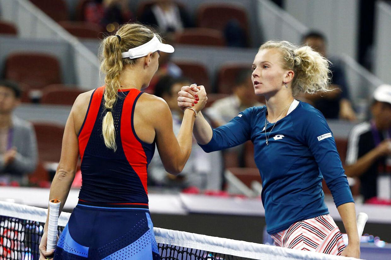 Caroline Wozniacki besejrede Katerina Siniakova ved China Open i fjor, hvor dette billede stammer fra.