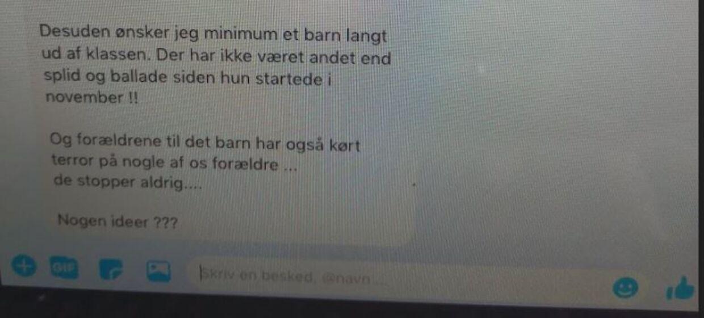 Den oprindelige besked i Facebook-tråden, der blev afsendt af den daværende næstformand i skolebestyrelsen.