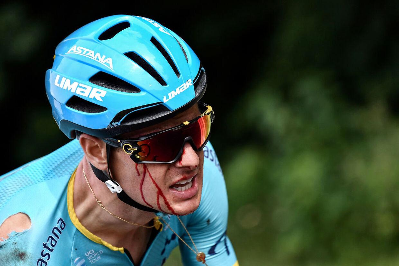 Jakob Fuglsang styrtede allerede på 1. etape af dette års Tour de France.