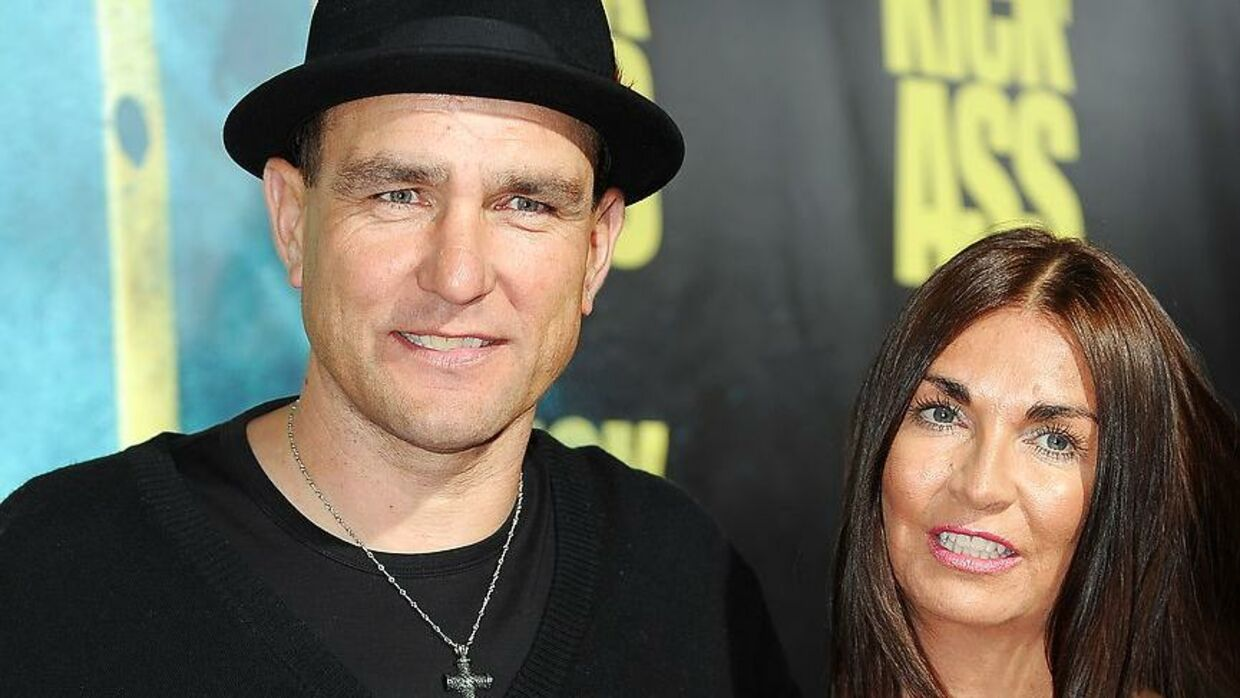 "Actor Vinnie Jones arrives with his wife Tanya Jones at the premiere of ""Kick-Ass"" in Hollywood, California on April 13, 2010. AFP PHOTO / GABRIEL BOUYS. GABRIEL BOUYS / AFP"