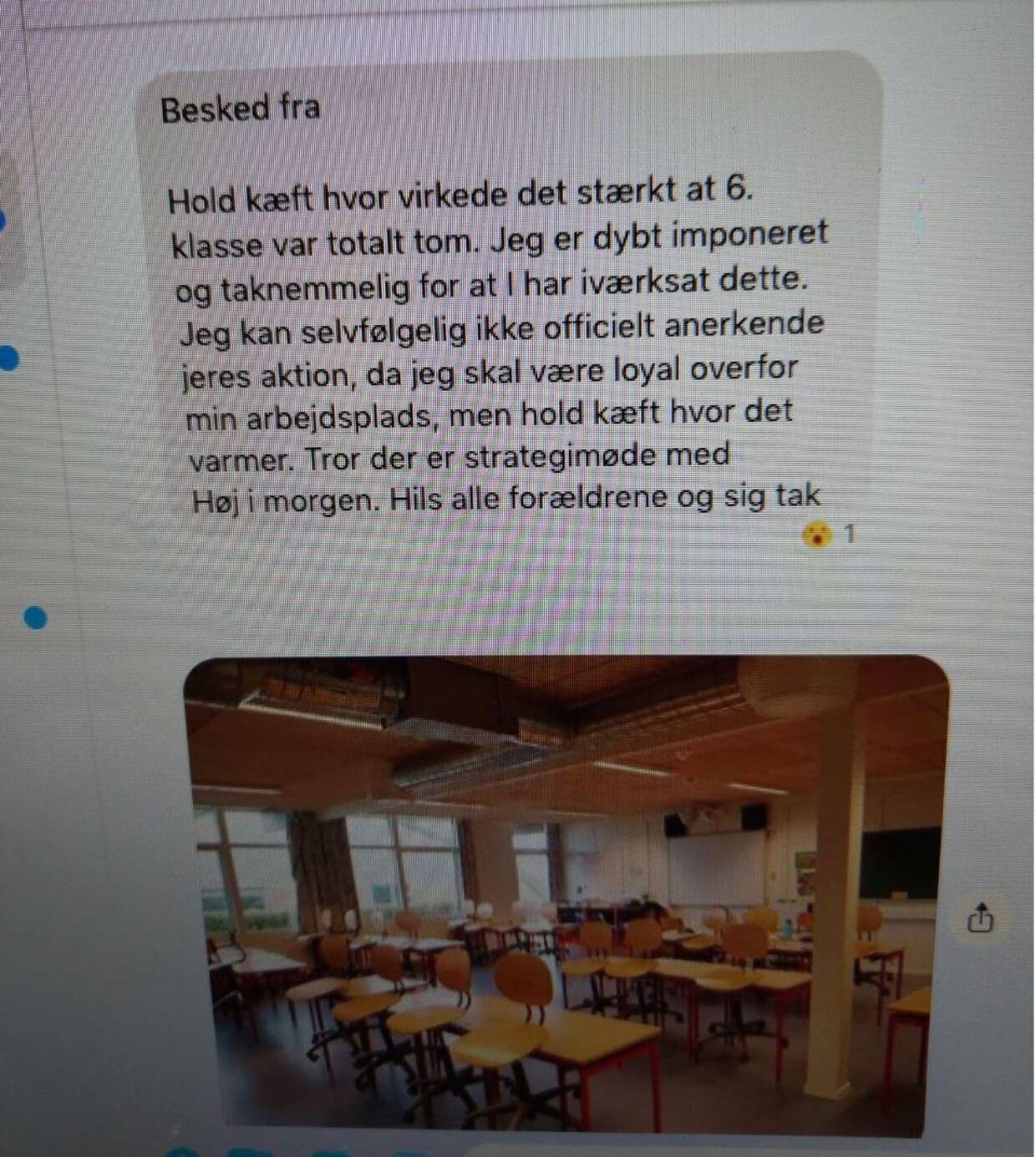 Besked fra læreren i gruppen, hvor klassens forældre aftaler at holde deres børn hjemme.