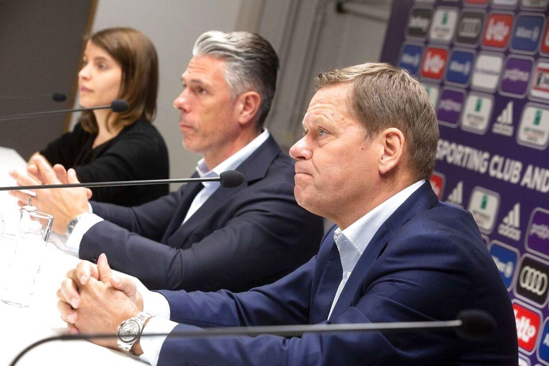Sådan så det ud, da Frank Arnesen sidste år blev præsnteret som teknisk direktør i Anderlecht.