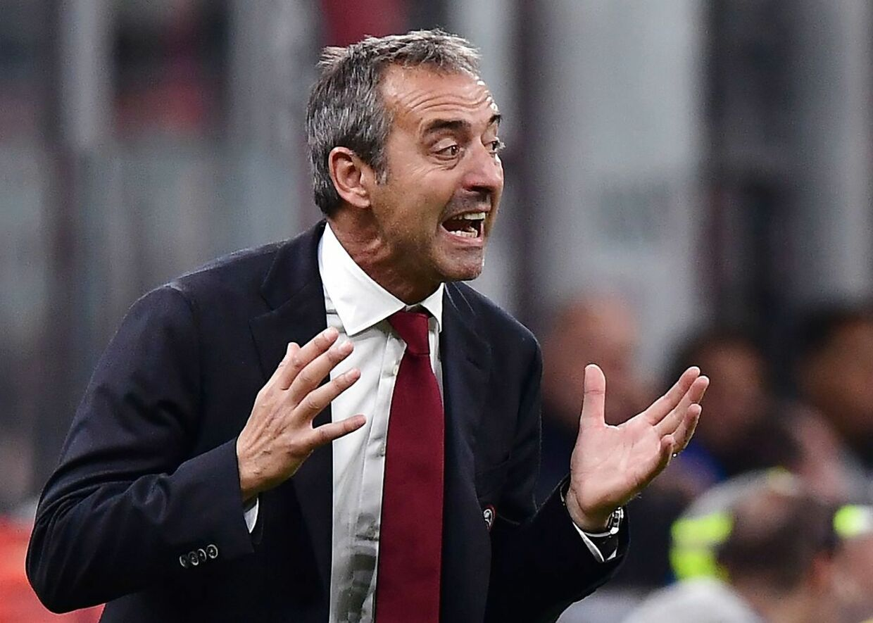 AC Milan's Italian head coach Marco Giampaolo shouts instructions during the Italian Serie A football match AC Milan vs Inter Milan on September 21, 2019 at the San Siro stadium in Milan. (Photo by Miguel MEDINA / AFP)