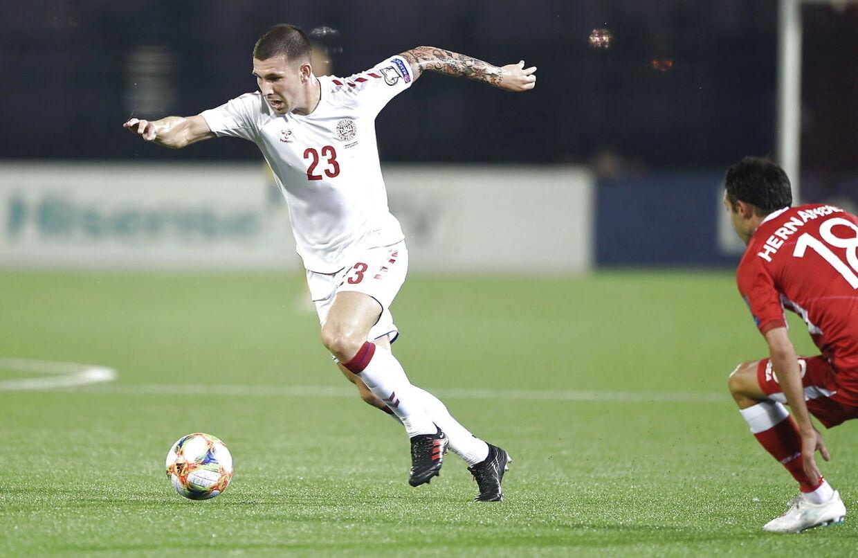 Pierre-Emile Højbjerg har gjort comeback på landsholdet efter at have været ude af truppen i en længere periode. Her ses han i kampen mod Gibraltar i september.