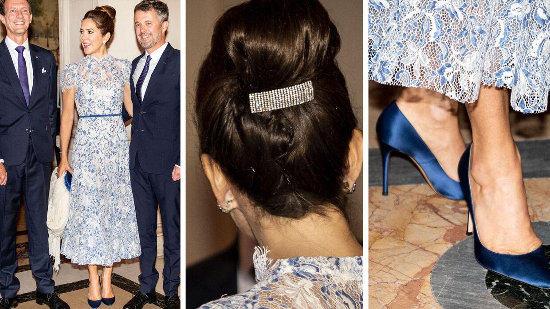 Denne kjole bar Kronprinsessen under den store middag tirsdag aften.