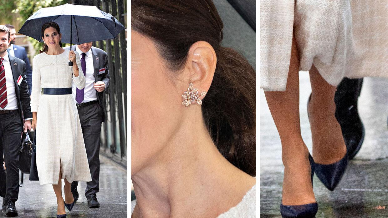 Sådan så Kronprinsessen ud tirsdag under dagaktiviteterne. Kjolen er af designeren Mark Kenly Domino Tan.