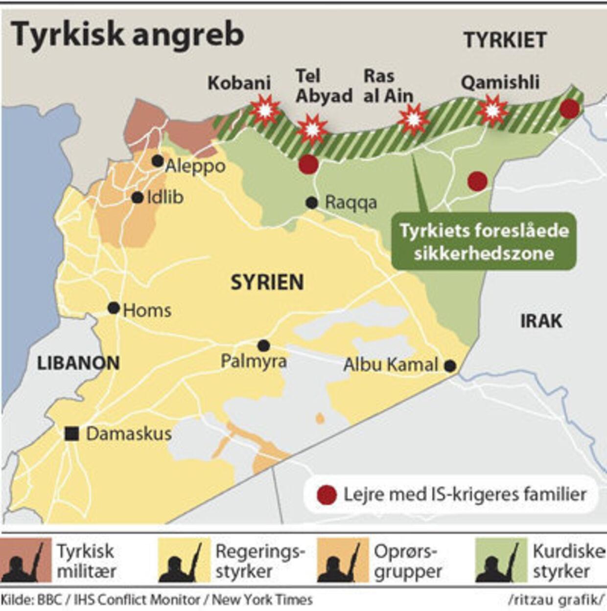 Her får du overblik over de tyrkiske angreb og det højspændte område.