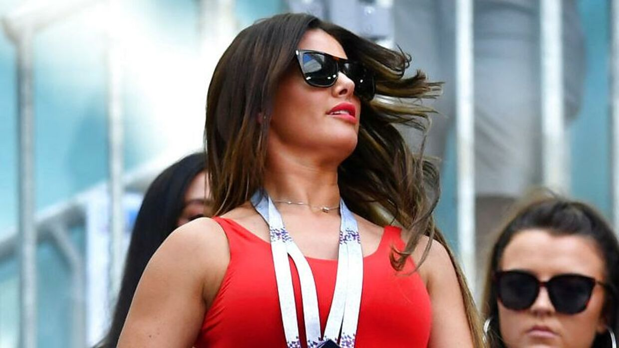 FILE PHOTO: Rebekah Vardy, wife of English footballer Jamie Vardy, attends the Third Place Play Off at the World Cup at St Petersburg Stadium, St Petersburg, Russia, July 14, 2018. REUTERS/Dylan Martinez/File Photo