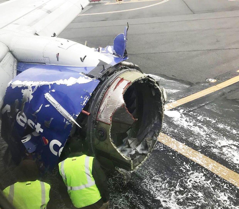 Her ses den motor, der eksploderede 22 minutter inde i flyvningen.