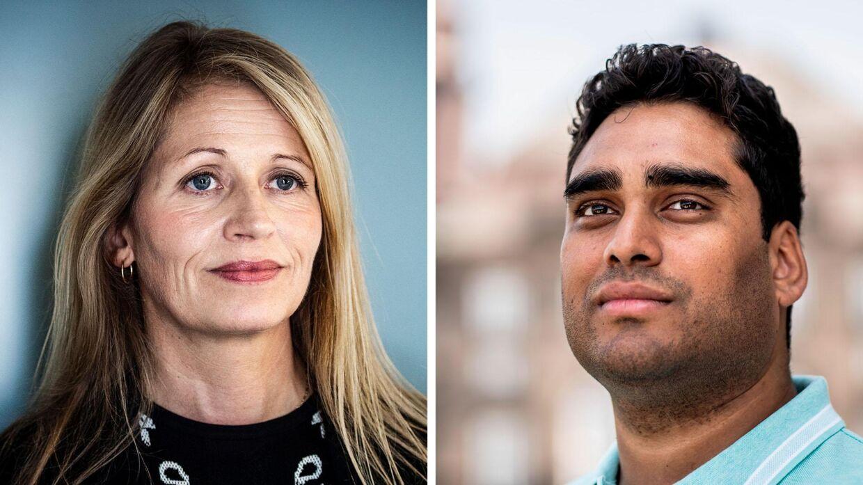 Til venstre Dansk Folkepartis integrationsordfører, Marie Grarup. Til højre Alternativets ditto, Sikandar Siddique.