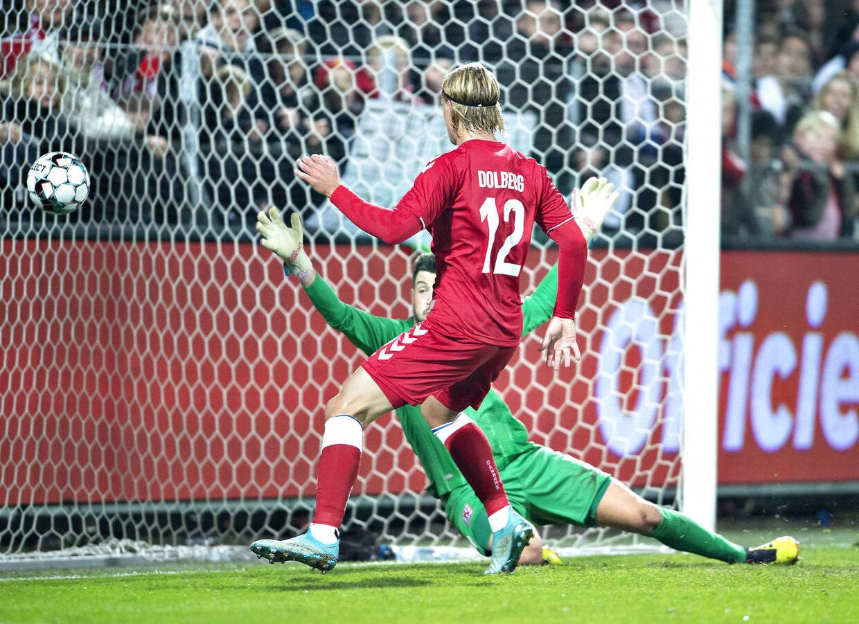 Kasper Dolberg bringer Danmark foran 3-0 i venskabslandskampen mod Luxembourg.