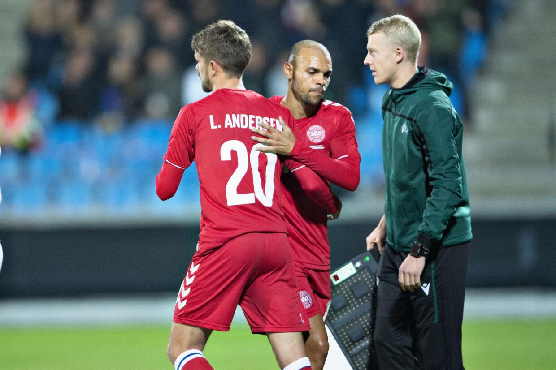 Lucas Andersen blev skiftet ind ved stillingen 3-0 i 4-0-sejren over Luxembourg. Henning Bagger/Ritzau Scanpix