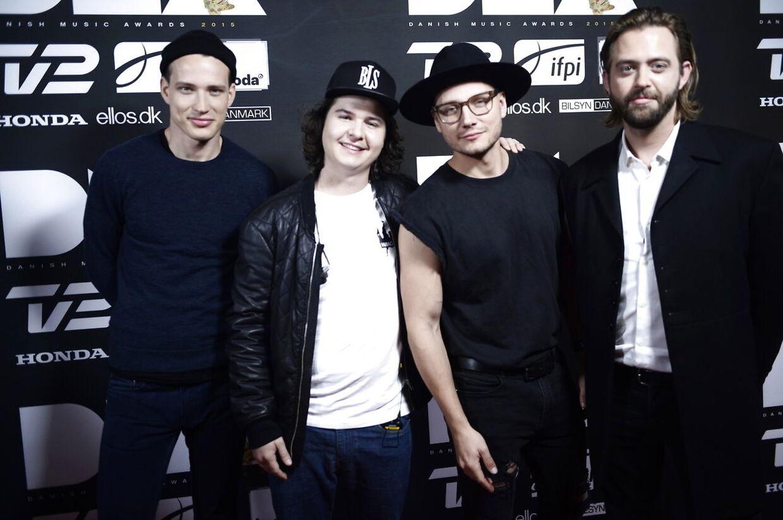 Lukas Graham til Danish Music Awards i 2015. Kasper Daugaard (t.h.) er ikke med i bandet længere.