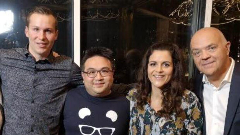 Fra venstre mod højre ses Michael Andreasen, Anders Hein (stifter af dating-appen, Petra Nagel og Jes Dorph-Petersen.
