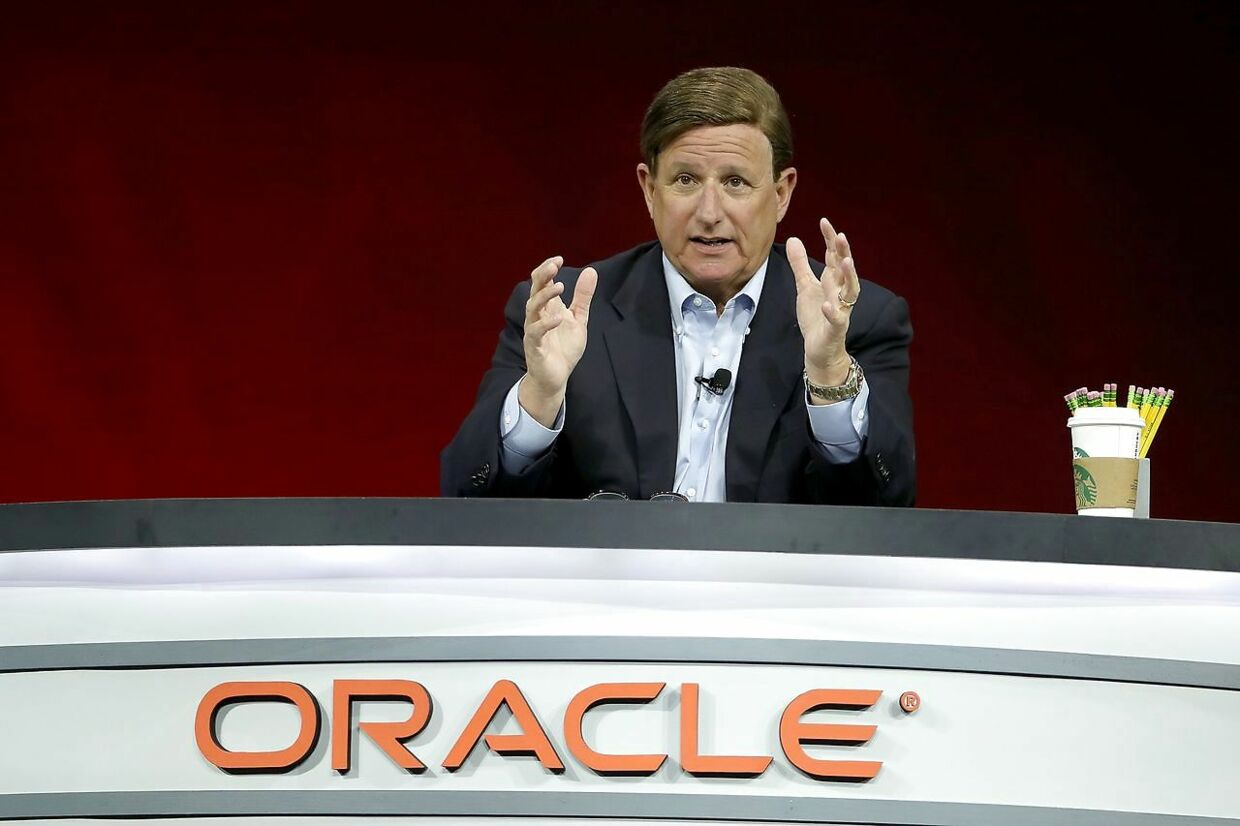 SAN FRANCISCO, CA - OCTOBER 23: Oracle co-CEO Mark Hurd delivers a keynote address during the Oracle OpenWorld on October 23, 2018 in San Francisco, California. The annual Oracle OpenWorld conference runs through October 25th. Justin Sullivan/Getty Images/AFP == FOR NEWSPAPERS, INTERNET, TELCOS & TELEVISION USE ONLY ==