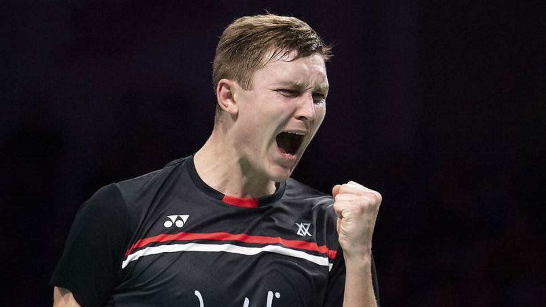 Viktor Axelsen (DEN) vandt over Kenta Nishimoto (JPN) Danisa Denmark Open Badminton. Odense. Onsdag den 16 oktober 2019.. (Foto: Claus Fisker/Ritzau Scanpix)