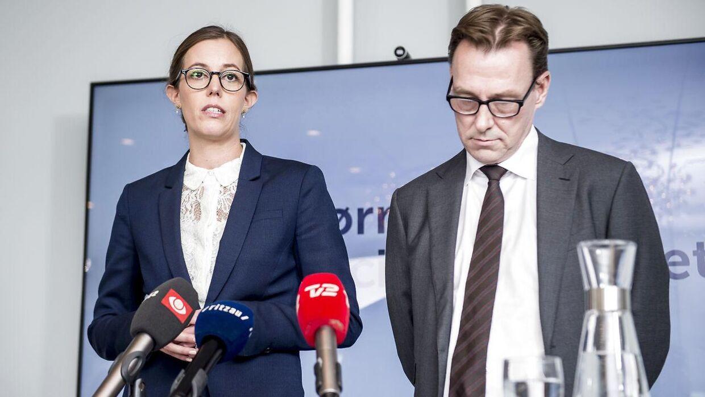 Arkiv. Børne- og socialminister Mai Mercado (C) og departementschef Jens Strunge Bonde holdte pressemøde i Børne- og Socialministeriet i København, tirsdag den 9. oktober 2018.