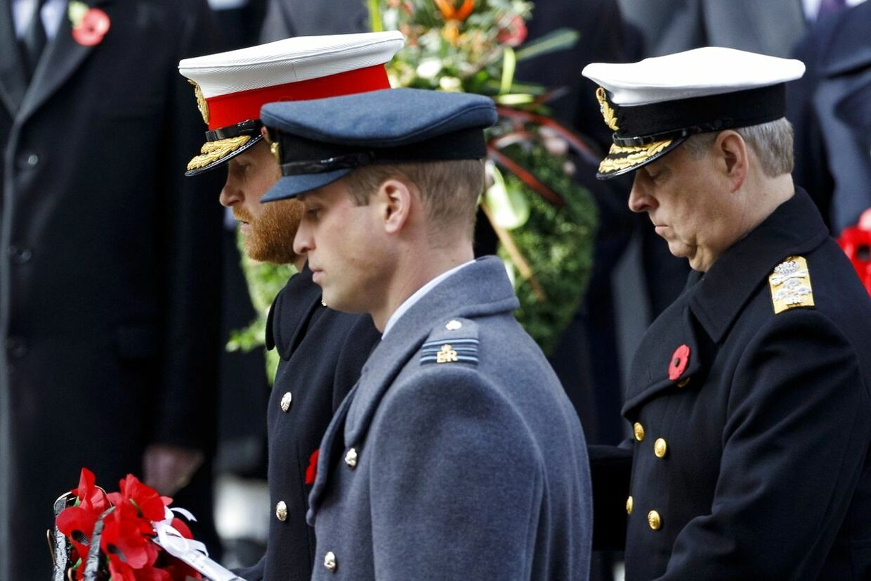 De to brødre fotograferet ved en mindehøjtidelighed i 2018. Bag dem ses deres onkel prins Andrew.