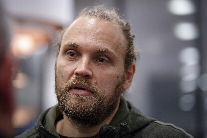 Håndboldlandsholdets Henrik Møllgaard taler med B.T.s udsendte ved mandagens pressemøde i Aarhus.