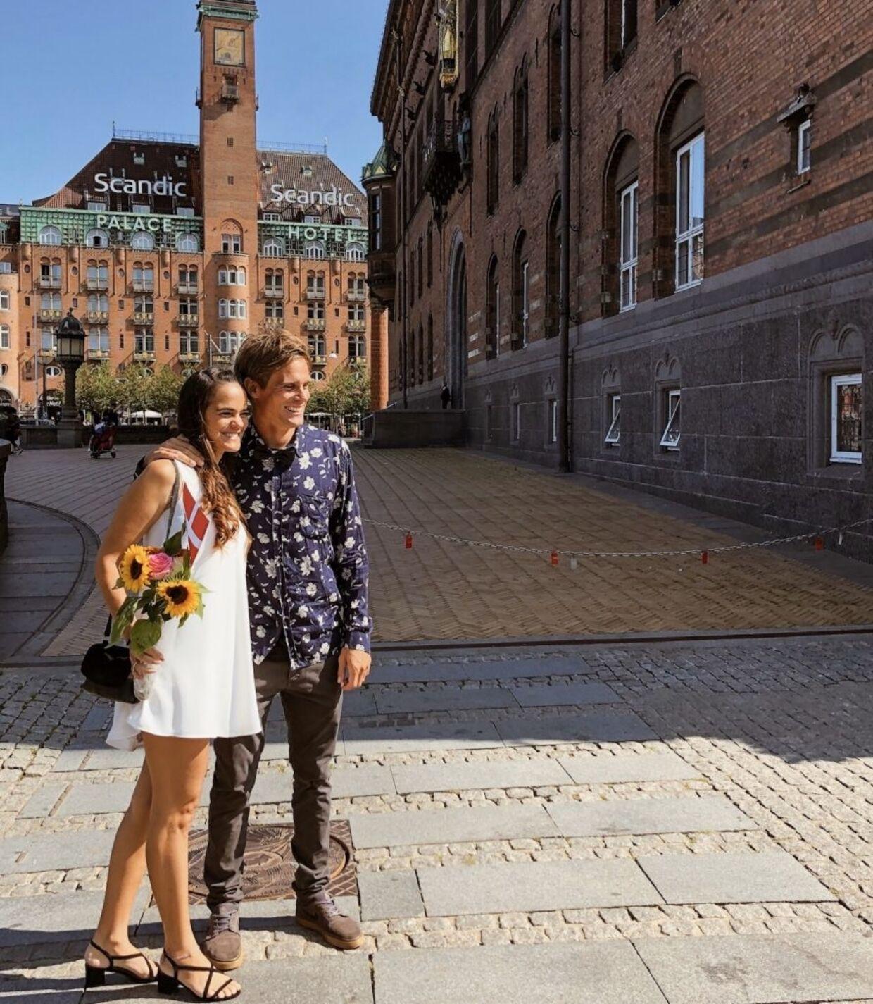 Parret blev gift i starten af august.