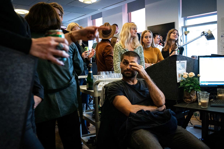 Medarbejderne på radioen får besked om at radiokanalen ikke kan fortsætte som DAB-kanal, på Radio24syv i København, tirsdag den 22. oktober 2019.. (Foto: Niels Christian Vilmann/Ritzau Scanpix)