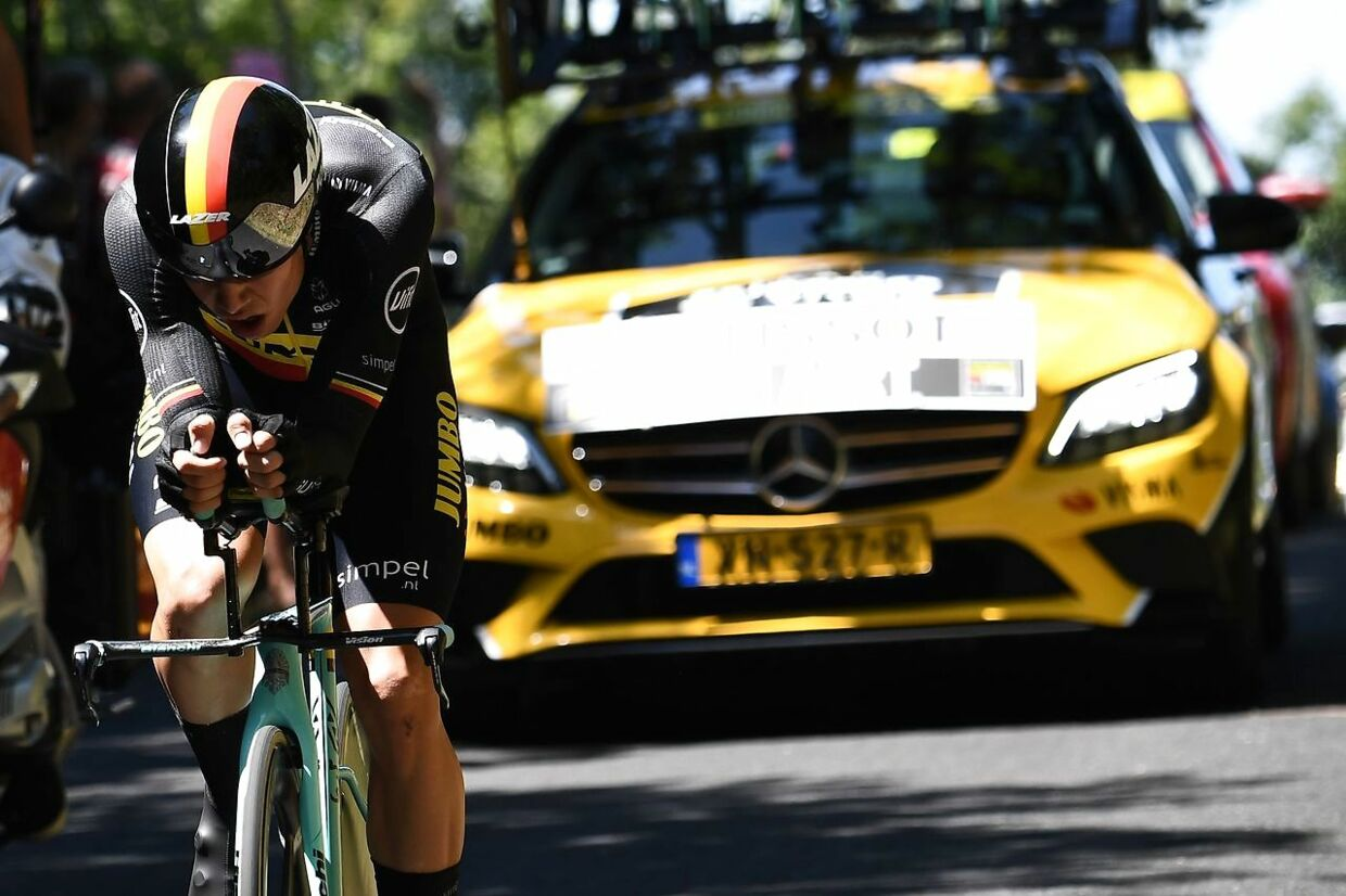 Belgium's Wout van Aert rides during the thirteenth stage of the 106th edition of the Tour de France cycling race, a 27, 2-kilometer individual time-trial in Pau, on July 19, 2019. (Photo by Anne-Christine POUJOULAT / AFP)