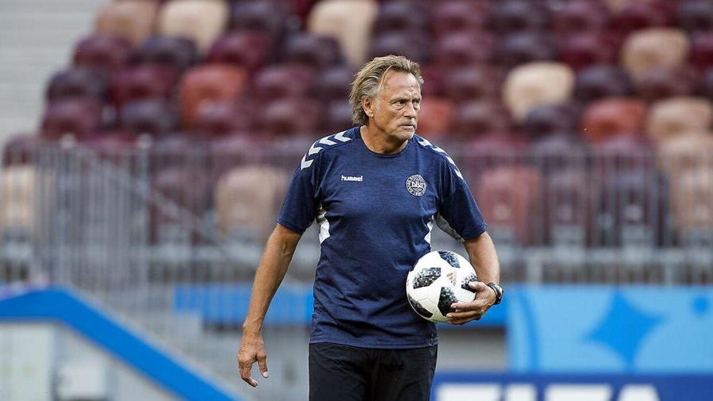 Målmandstræner Lars Høgh under Danmarks træning på Luzjniki Stadion i Moskva mandag den 25 juni 2018.