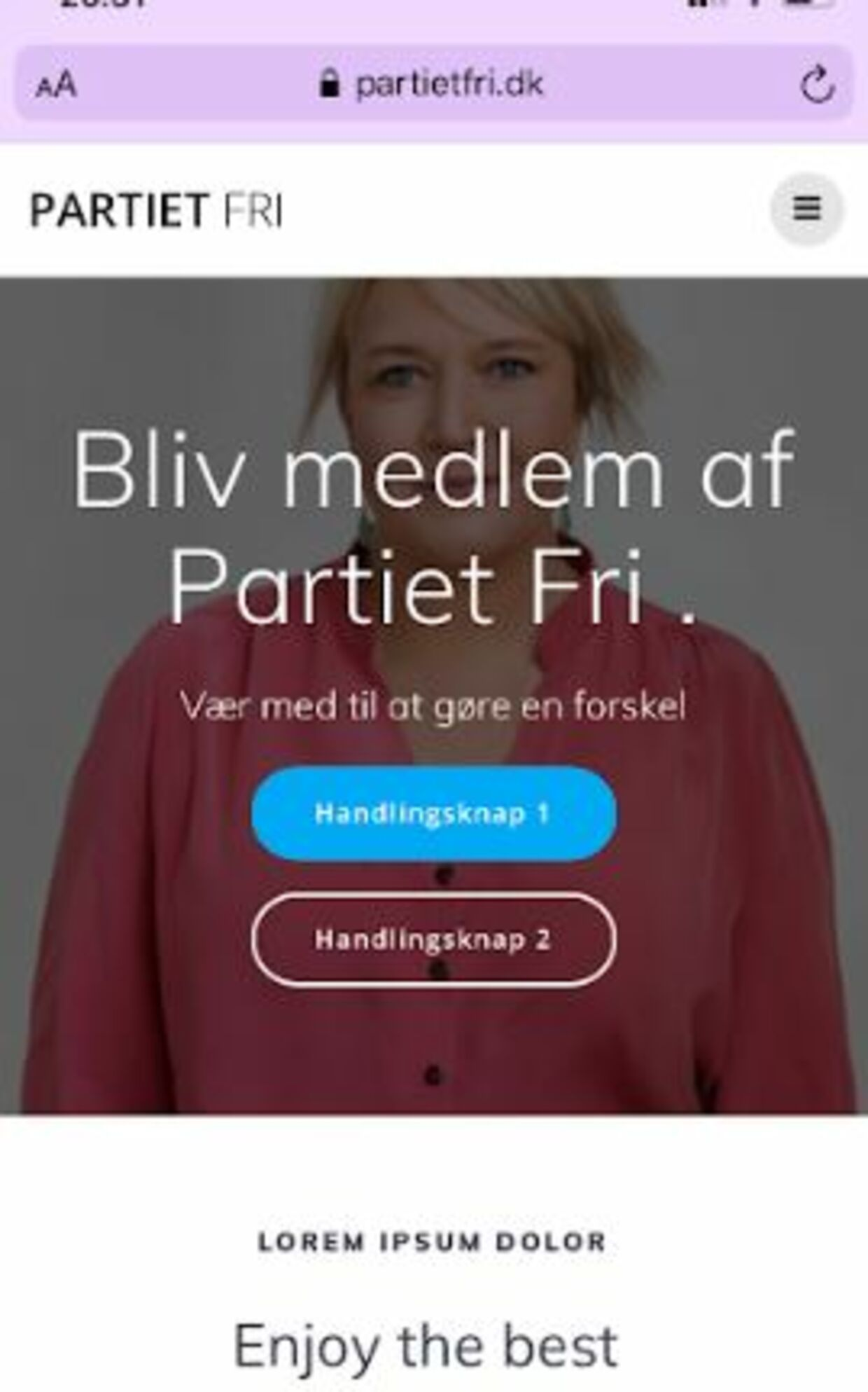 Screenshot fra hjemmesiden Partietfri.dk, da den endnu var oppe.