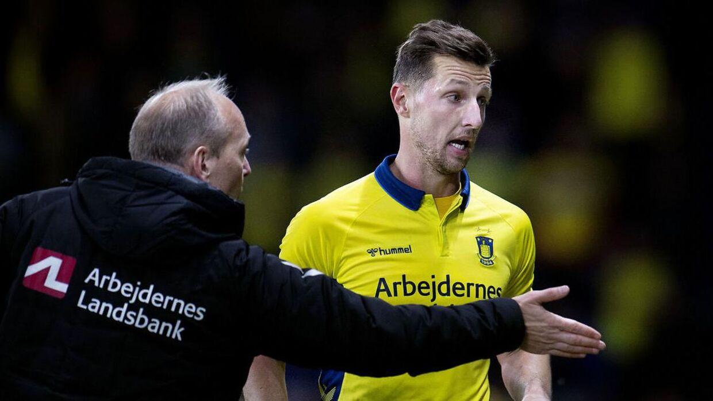 Brøndbys Kamil Wilczek får rødt kort under superligakampen mellem Brøndby-Randers FC på Brøndby Stadion, søndag den 27 oktober 2019. (Foto: Liselotte Sabroe/Scanpix 2019)