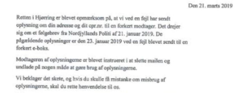 Her ses en bid af det brev, som Retten i Hjørring sendte.