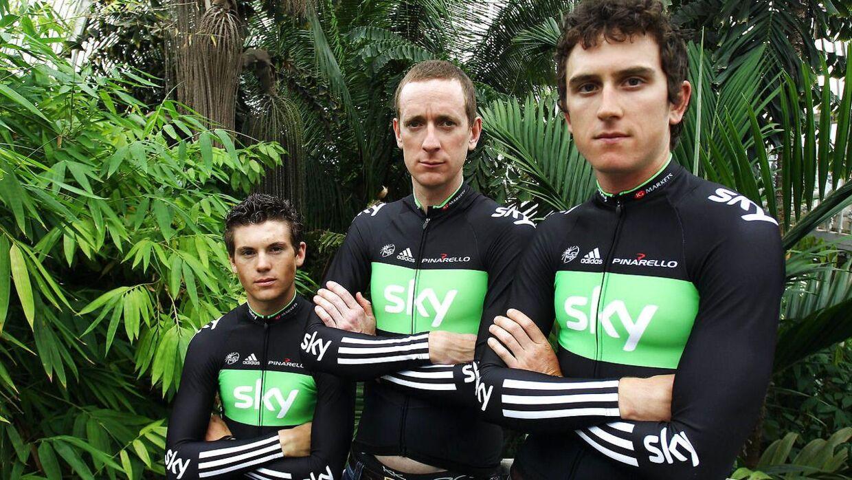 Nogle af Team Sky-rytterne i 2011: Bradley Wiggins, Geraint Thomas og Ben Swift.