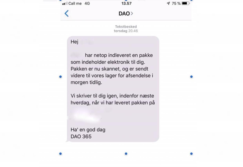 Den falske sms fra Dao, som Asaad Kamali modtog fra en svindler.