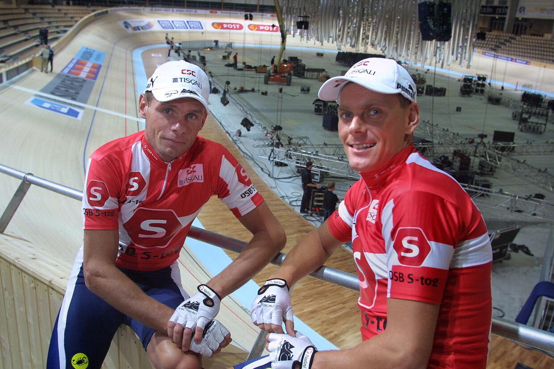 Jimmi Madsen og Michael Sandstød var i mange år makkere på cykelbanen og er det nu også i kulissen. Madsen er sportsleder for seksdagesløbet, som Sandstød arrangerer. Jens Nørgaard Larsen/Ritzau Scanpix