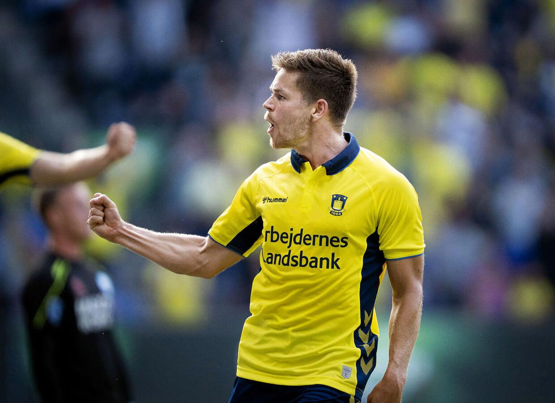 Brøndbys Dominik Kaiser til 2-0 i superligakampen mellem Brøndby IF og Silkeborg IF, på Brøndby Stadion søndag den 14. juni 2019.. (Foto: Liselotte Sabroe/Ritzau Scanpix)