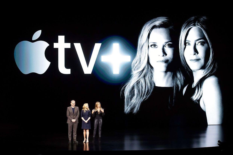 Jennifer Aniston, Reese Witherspoon og Steve Carell spiller med i 'The Morning Show', som bliver trækplasteret i Apples nye streamingtjeneste Apple TV+, der skal tage kampen om med Netflix.
