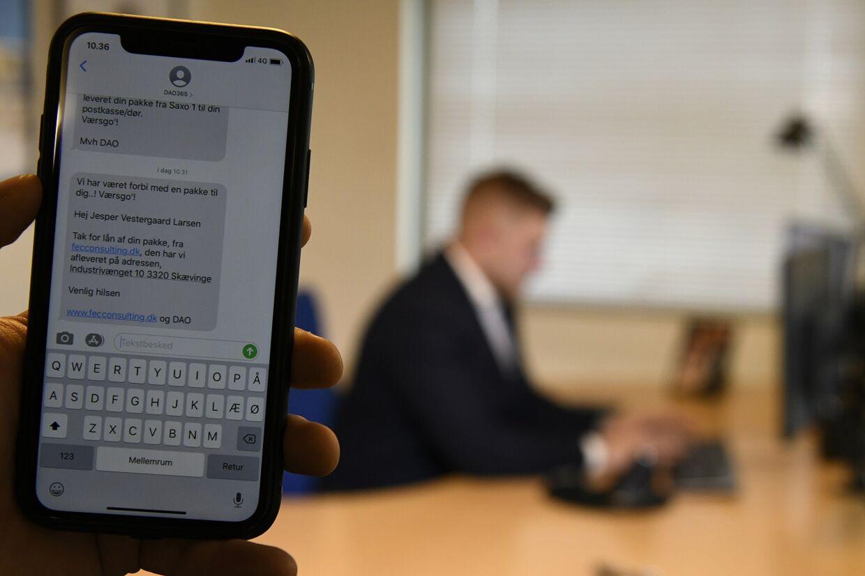 Spoofing-sms sendt fra en hjemmeside, der gør det muligt at sende falske sms'er.