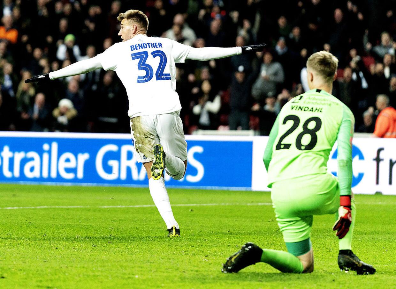 Nicklas Bendtner scorede sit første mål i FCK-trøjen mod FC Nordsjælland.