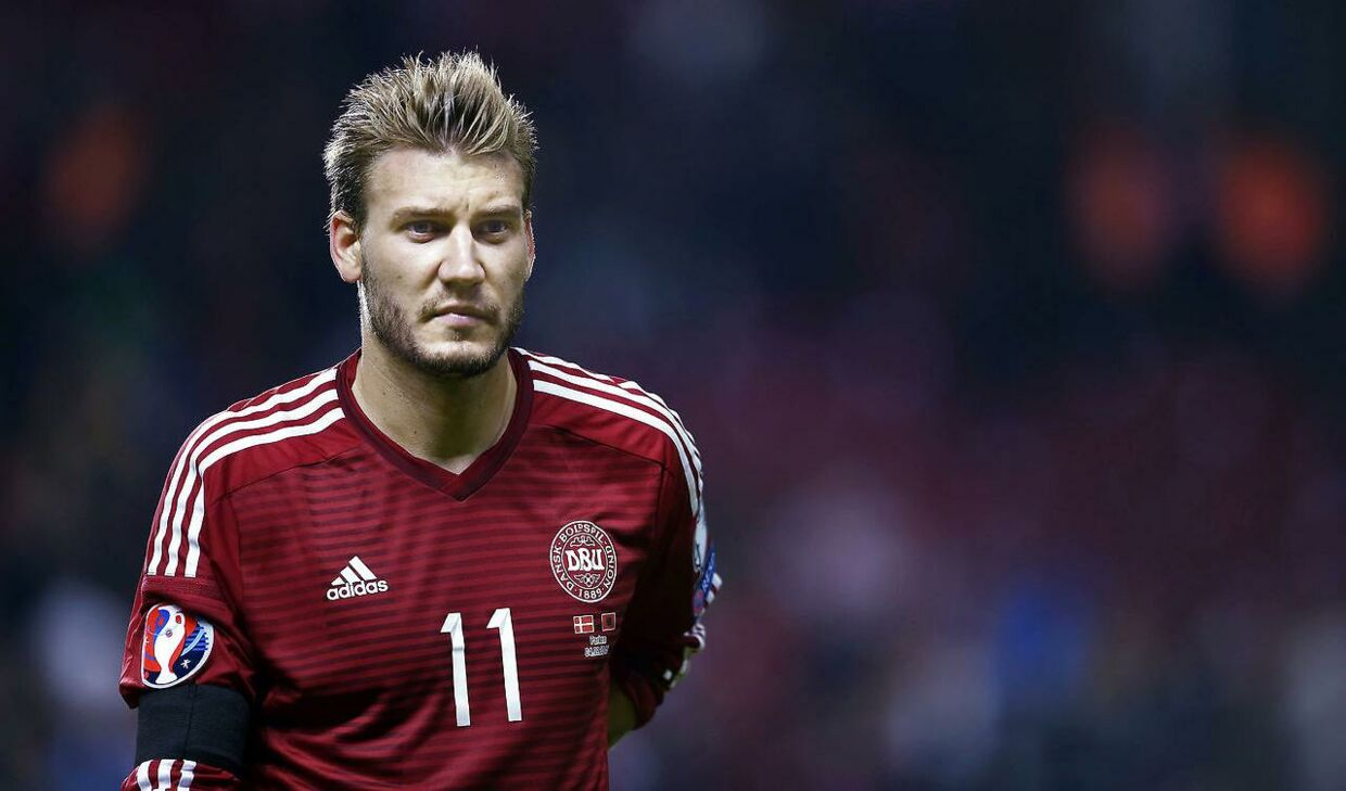Nicklas Bendtner i kamp for herrelandsholdet.