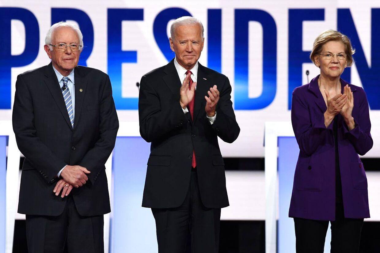 Bernie Sanders, Joe Biden og Elizabeth Warren. Er én af disse demokratiske præsidentkandidater stærke nok til at vippe Trump af pinden. Michael Bloomberg er ikke overbevist.