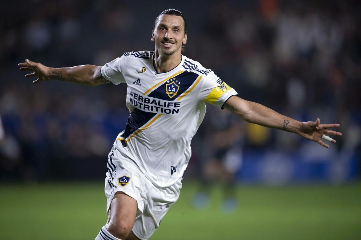 Sep 15, 2019; Carson, CA, USA; LA Galaxy forward Zlatan Ibrahimovic (9) celebrates a goal during the second half against Sporting Kansas City at StubHub Center. Mandatory Credit: Kelvin Kuo-USA TODAY Sports