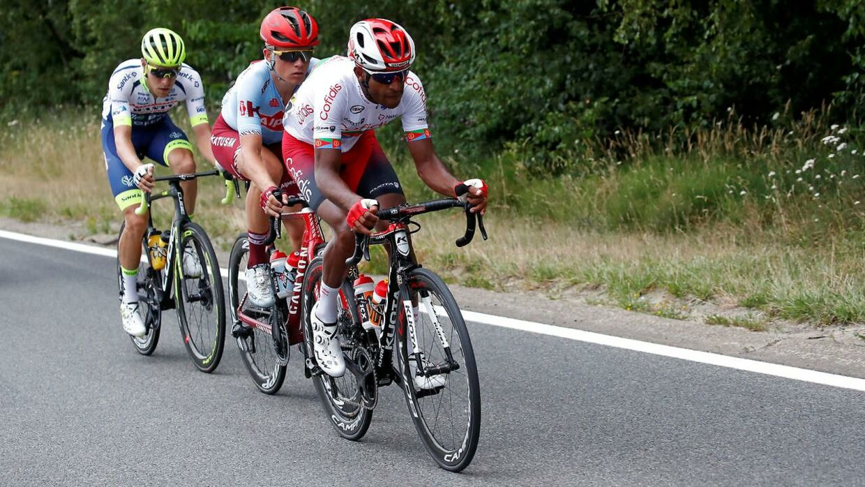 Mads Würtz Schmidt i midten under årets Tour De France.