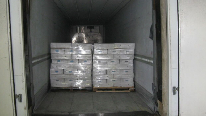 Kokainen var skjult i kød, der var læsset på paller i lastrummet på kølevognen.